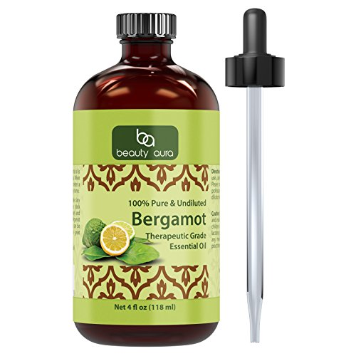 Beauty Aura Bergamot Essential Oil - 4 Oz. Bottle - 100% Pure, Undiluted Therapeutic Grade Oils - Ideal for Aromatherapy - Great Quality Great Value!