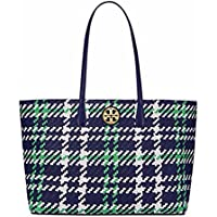 Tory Burch Duet Woven Leather Tote (Royal Navy / Court Green / New Ivory)