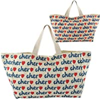 Cher シェル トートバッグ サブバッグ 総ロゴプリント キャンバスバッグ Mサイズ 2カラー 並行輸入品 AMI316