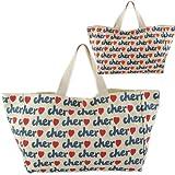 Cher シェル トートバッグ サブバッグ 総ロゴプリント キャンバスバッグ Mサイズ ベージュ 並行輸入品 AMI316-BEIGE