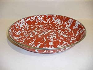 Golden Rabbit Red Swirl Deep Pasta Plate