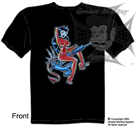 Size XXL, Tattoo Gun Girl, Pinup Girl, Custom Culture T Shirt, New, Ships within 24 hours