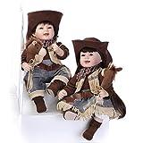 NPKDOLL Preciosa Muñeca De Juguete De Alta Vinilo De 22 Pulgadas 55 Centímetro Realista Niño Niña De Juguete Vaquero Y La Vaquera Reborn Doll A1ES