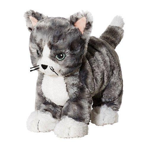IKEA LILLEPLUTT - Doudou, chat gris, blanc - 21 cm