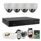 GW Security 8 Channel HDMI CCTV DVR Outdoor / Indoor Security Camera System with (4) 1080P (1920TVL) Varifocal Zoom Surveillance Cameras (Color: White, Tamaño: 4 Camera System)