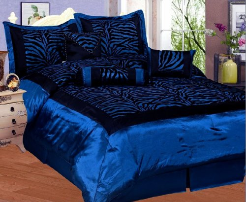 Pcs Queen Size Comforter Set Blue And Black Images Frompo