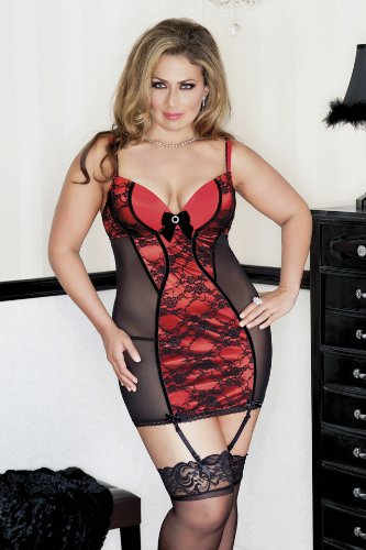 ICOLLECTION LINGERIE 8098X Lace overlay lycra and mesh chemise with contrast piping, open back detail, velvet bow accents, removable garters and matching g-string. color:Red size:3X/4X