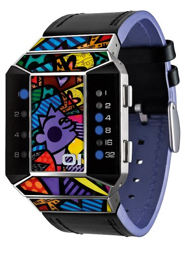 The One Mens Watch SC125B1 with Multicolour Dial and Black Leather Strap