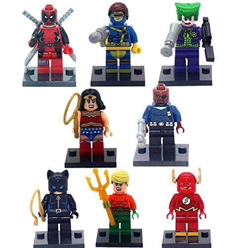 [8pcs/lot Super Hero Superheroes Deadpool Kid Baby Toy Mini Figure Building Blocks Sets Model Toys Minifigures] (Scarlet Spider Costume 2016)