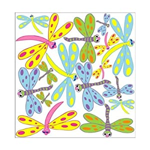 Dragonfly Wall Stickers / Decals Pink Purple Blue Green Orange Yellow