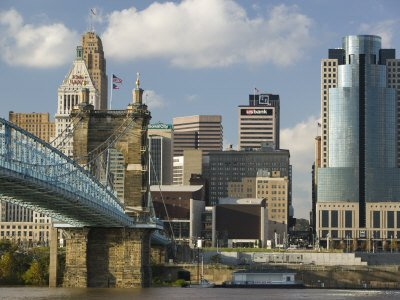 City Skyline along the Ohio River, Cincinnati, Ohio