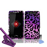 5pcs combo for Verizon Motorola Droid RAZR XT912- Purple Cheetah Leopard Design Rubberized Design Snap on Hard Cover Protector Shield Case + Alloy capacitive stylus pen + Mini Phone stand, Screen Guard Film + Case opener tool