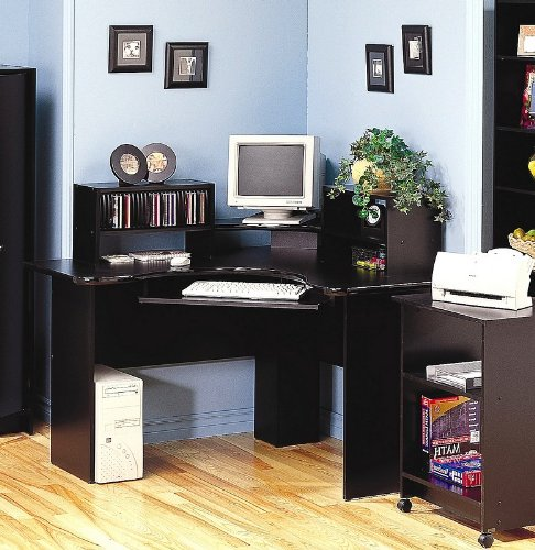 Buy Low Price Comfortable Black Corner Workstation PC Computer Desk CD Storage (B001DDLKCK)