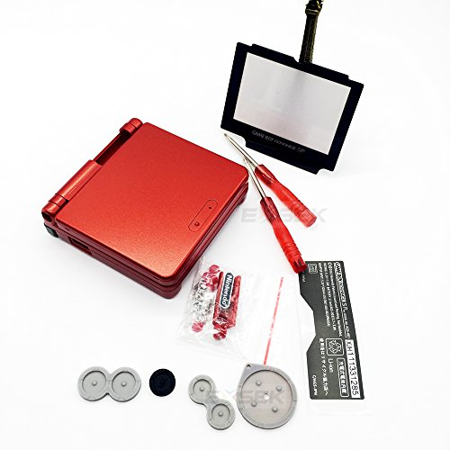 EXSEK Full Parts Replacement Housing Shell Pack for Nintendo Gameboy Advance SP (Flame Red) (Gameboy Advance Sp Full Housing compare prices)