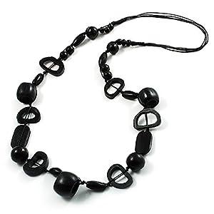 Black Long Bone & Wood Bead Cotton Cord Necklace