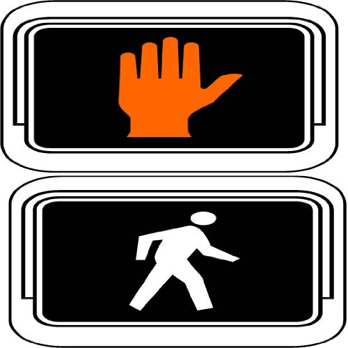 Street & Traffic Sign Wall Decals - Don'T Walk, Walk Symbol Light Sign Stacked - 12 Inch Removable Graphic