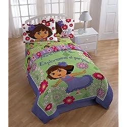 "Nickelodeon Dora The Explorer ""Picnic"" Comforter with 2 Shams, Full"