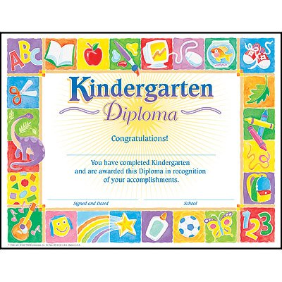 Trend Enterprises Kindergarten Classic Diploma, 30/Pkg (T-17002) - 1