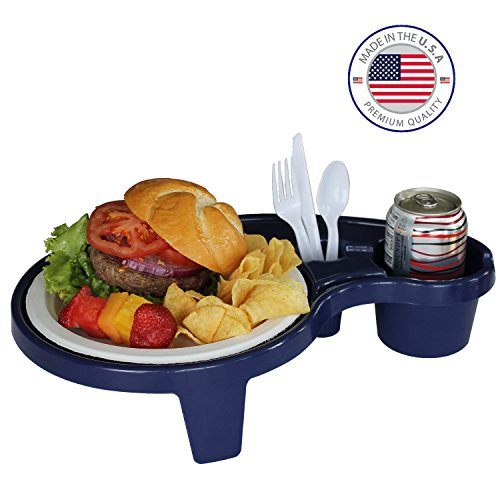 Great Deal! Made in the USA - Navy Blue Party Pal, the portable individual picnic table, utility & f...
