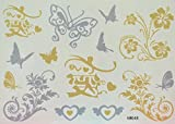 GRASHINE Flowers, butterflies and love Golden and Silver glitter fake and realistic temporary tattoos