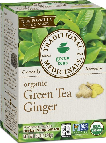 Traditional Medicinals Organic Fair Trade Certified Green Tea With Ginger Herbal Tea, 16-Count Wrapped Tea Bags (Pack Of 6)