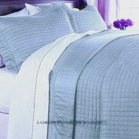 Hotel 400tc Egyptian Cotton Light Blue Quilt Coverlet Set King/Cal King