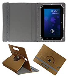 Acm Designer Rotating 360° Leather Flip Case For Iberry Auxus Ax01 Ax-01 Tablet Stand Premium Cover Golden