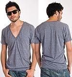 【アメリカンアパレル】アメアパ American Apparel トライブレンド 深Vネック Tシャツ メンズ&レディース XSサイズ ATHLETIC GREY