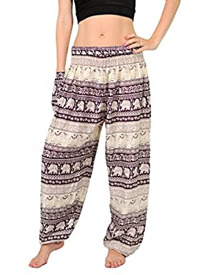 Orient Trail Women's Harem Elephant Design Baggy Dance Yoga Pants US Size 12-18