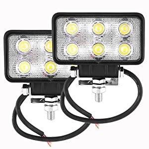 amzdeal® 2 X 18W 6LED phare de travail phare de voiture projecteur spot idéal pour véhicule tout-terrain, chantier, phare bateau, auto Jeep IP67