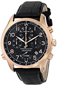 Bulova 97B122 Men's Precisionist Black Dial Leather Strap Rose Gold Steel Chronograph Watch