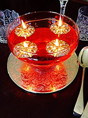 Clever & Unique Magical Floating Water Candles, 50 Reusable Silver Floats & 50 Long Burning Wicks fuelled by vegetable oil. Wedding Table Centrepiece by Aromaglow
