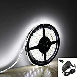 MStar 5M Non-Waterproof 3528 300-LED Flexiable Light Strip with 12V 2A AC- Cool White by MStar