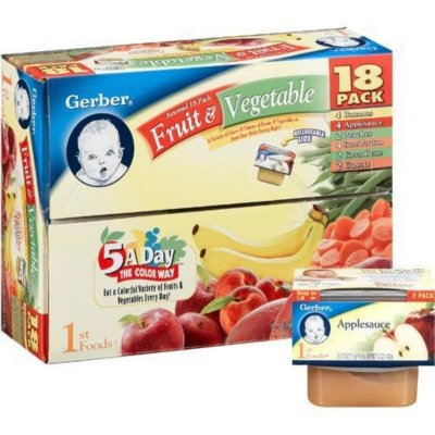 Gerber 1st Foods Assorted Fruits and Vegetables 18 Pack, 2.5oz Tubs