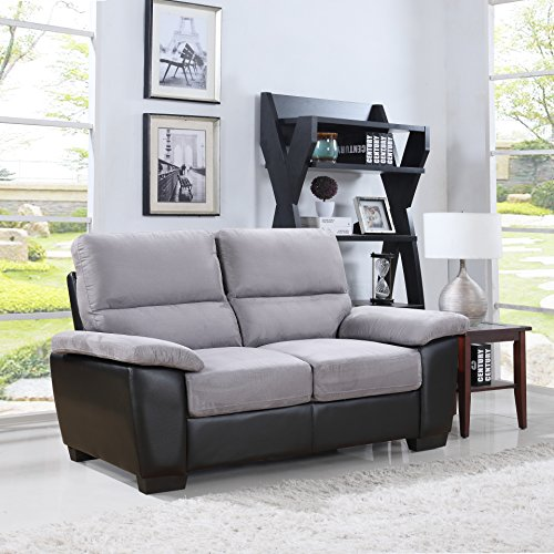Divano Roma Classic Soft Microfiber and Bonded Leather Sofa and Loveseat Living Room Furniture Set, Color Beige and Grey (Loveseat, Grey)
