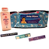 100 Count Baby Wipes Ultra Clean, Non-toxic With Aloevera, Alcohol Free, Vitamin E And Johnson's Baby Powder Blossoms 100g