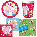 BIRTHDAY PARTY TABLEWARE PACK PEPPA PIG DESIGN PLATES NAPKINS CUPS TABLECOVER