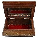 BKDT Marketing Brown Wooden Handicraft Hand Made Jewellery Box with Mirror Designer Decorative Gift 6 x 4 inch