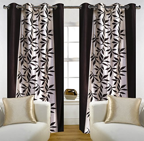 """Home Candy Eyelet Fancy Polyester 2 Piece Door Curtain Set - 84""""x48"""", Brown (SOE-CUR-173_173)"""