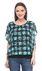 Wearsense Women's Top (Green and Black, Medium)