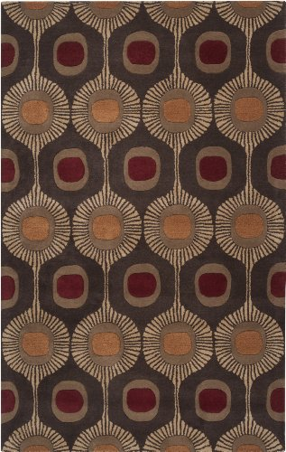 Surya Forum Fm-7170 Transitional Hand Tufted 100% Wool Dark Chocolate 4' X 6' Global Area Rug front-399386