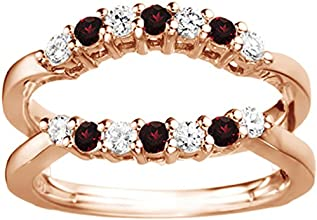 Silver Double Shared Prong Contour Ring Guard with Diamonds and Ruby 049 ct twt