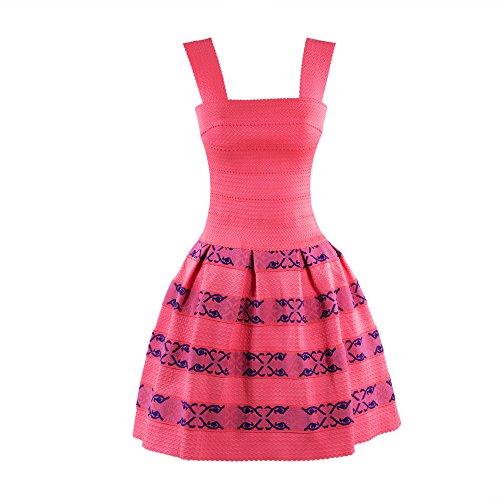 La Reyna® Casual Summer Sleeveless Sundress Waist Cocktail Swing Dress (Small)
