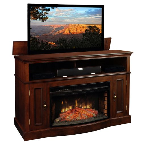 Tv Lift Cabinet With Fireplace For 40-60 Inch Flat Screens (Coffee) At006449