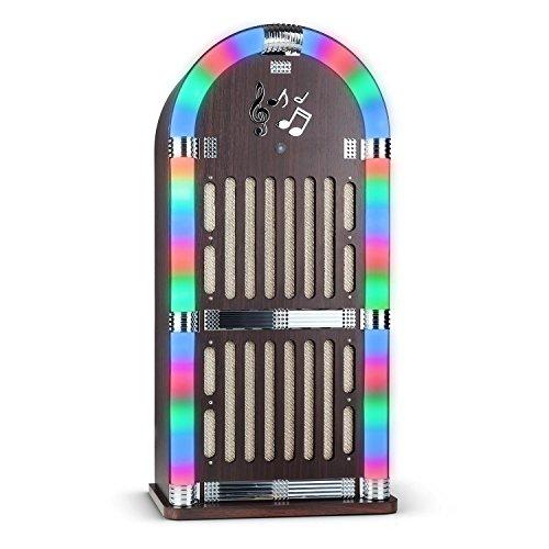 auna-Memphis-WD-Jukebox-Musikbox-Retro-Stereoanlage-50er-Jahre-Style-inkl-Fernbedienung-Bluetooth-Schnittstelle-UKW-Radiotuner-mit-Sender-Scan-Funktion-2x-AUX-Eingang-LED-Lichteffekt-Holz-Schwarz