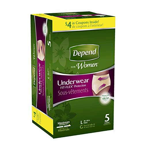 Depend for Women Underwear, Maximum Absorbency, Large, 5 ct - 1