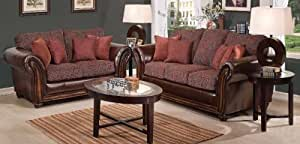 Simmons Leather Base Sofa & Loveseat with Paisley Fabric Cushions