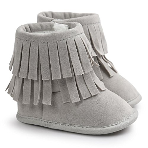 Voberry Baby Toddler Girls Boys Winter Warm Snow Boot Tassels Trimmed Boots Outdoor (6~12Month, light Gray)
