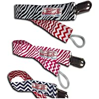 Baby Pacifier Clip | Infant Binky Leash | Multi-pack Of 3 | Dark Blue Chevron | Red Wavy | Black Wavy
