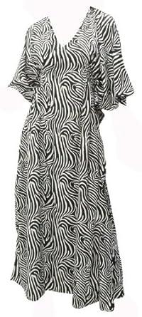 La Leela Black And White Animal SKin Print Likre Long Tube Kaftan Caftan